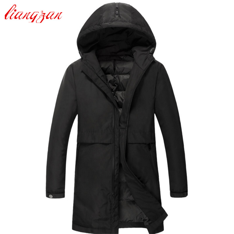 Men Down Coats 90% White Duck Brand Design Winter Warm Snow Thick Medium-Long Down Parkas Casual High Quality Trench Coats F2353 mmc brand children s winter thick warm brief style gradient splice high quality hooded down coats for girls 90