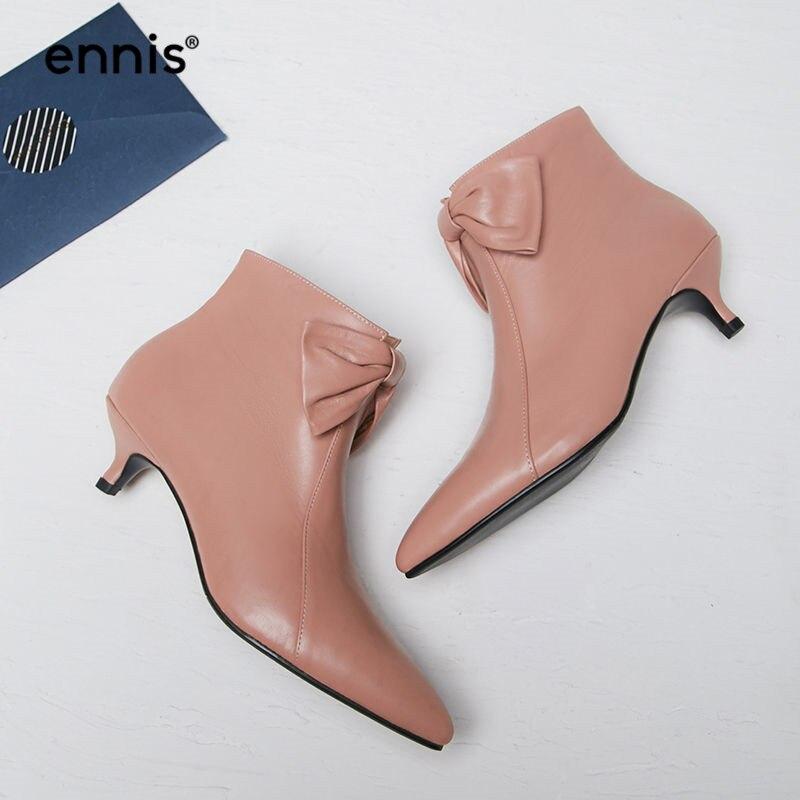 Botines pink Fino Negro Cuero Invierno Zip Talón Zapatos Punta Ennis Dedo Tobillo Genuino Mujeres Black De 2018 Botas Rosa Pie A8140 Otoño Bowtie Del WwnUqYg0