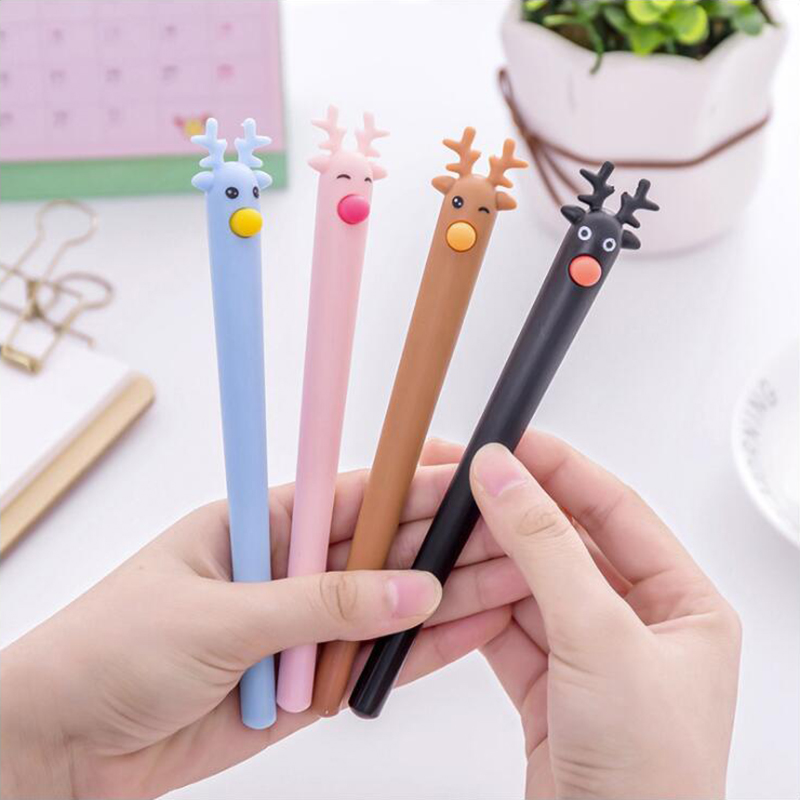 Colored Deer Shape Shell Gel Pen DIY Office Stationery and School Supplies Smooth Writing Black and Blue Ink 0.5mm Pen 1PCS truecolor 20pcs lot 0 35mm black blue ink gel pen refills smooth writing school fashion office stationery for students gifts