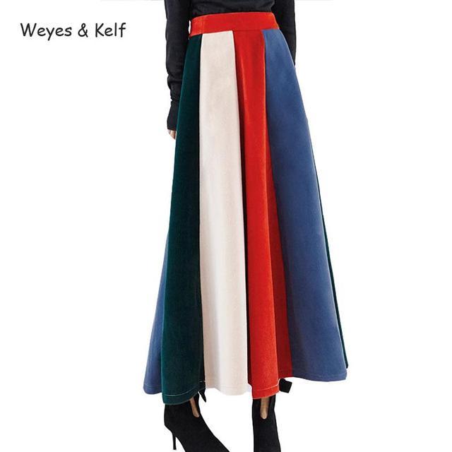 Weyes и кепф Повседневное Высокая Талия Flim Цвет норки Макси шерсть Юбки для женщин Для женщин зимние теплые женские юбка зонтик длинная юбка jupes femmes