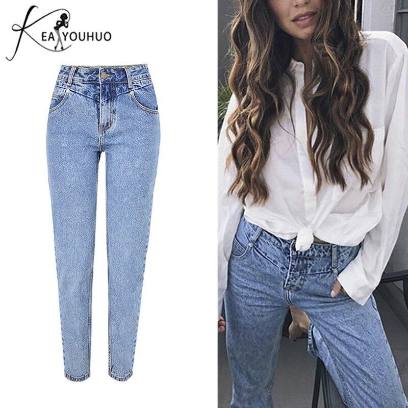 New 2019 Bleached Slim High Waist Skinny Pencil Jeans Woman Denim Jeans Pants Boyfriend Jeans For Women Female Pockets Trousers