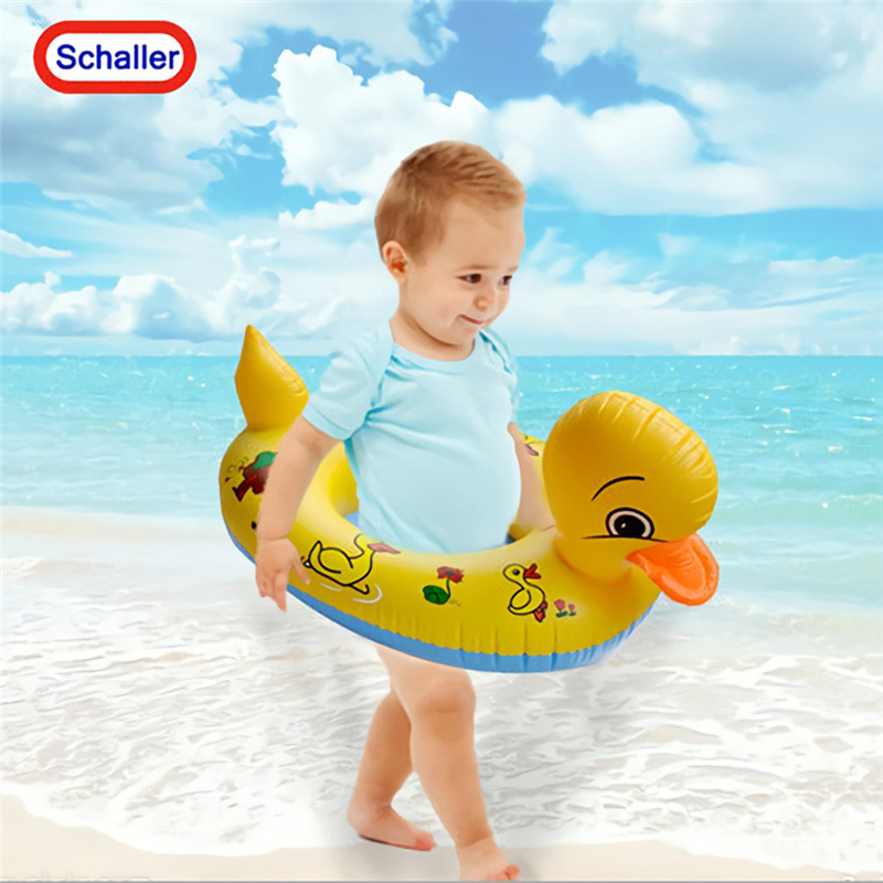 Yellow Duck Shaped Childrens Swimming Ring Babies Swimming Float Seat Underarm Circle
