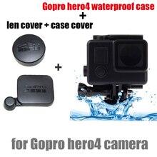 Gopro Acessórios go pro hero 4 len cap + tampa do caso + habitação Waterproof Case para GoPro Hero4 Black edition camera acessórios