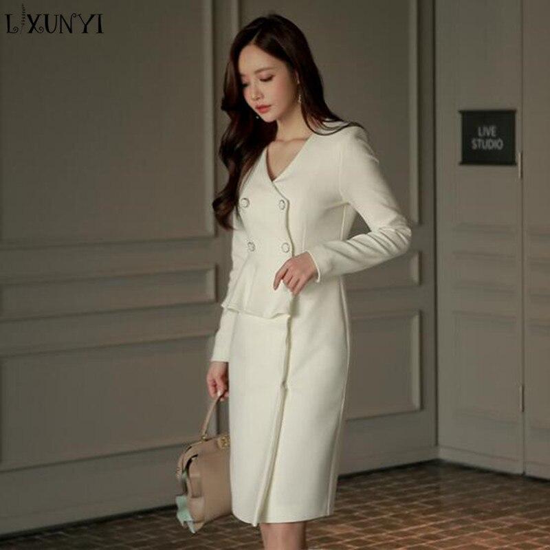 LXUNYI Spring Dresses Women 2018 Korean Ladies Double Breasted V Neck Ruffle Slim Pencil Dress Office Formal Dress Elegant White