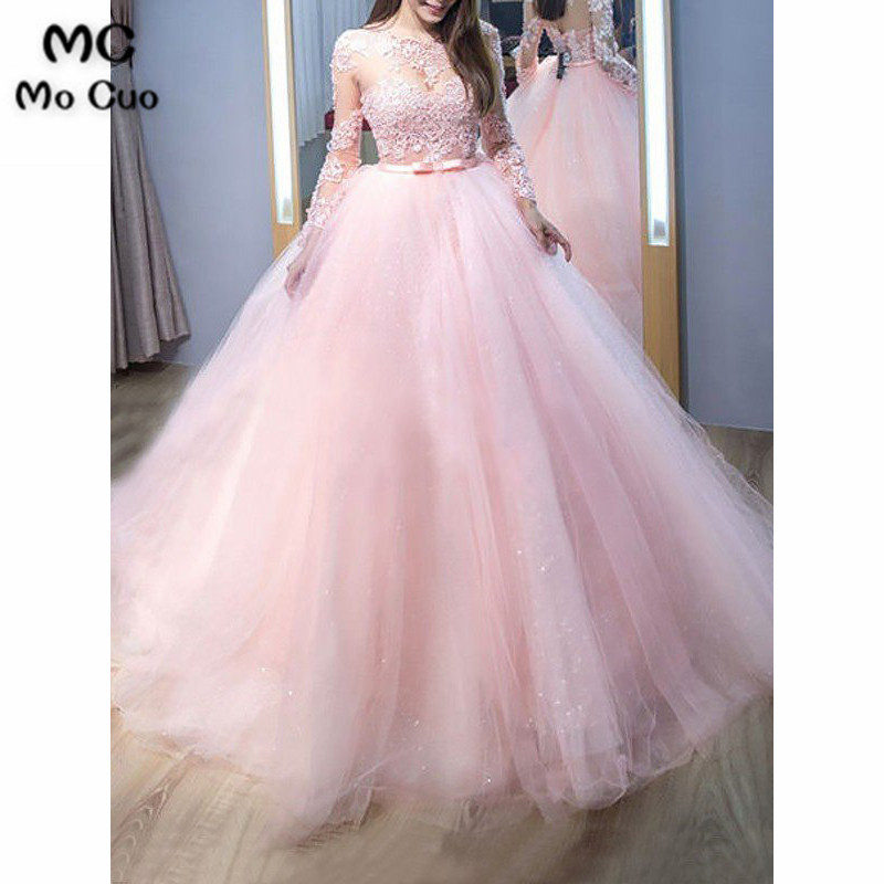 2019 Princess Sheer Lace Prom Dresses with Petticoat Pageant Gown Long Sleeve Keyhole Tulle Ball Gown
