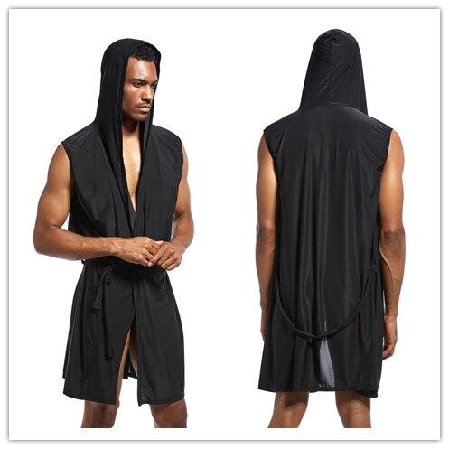 Summer Sleep Tops Men's Clothing Apparel Men Bathrobe Kimono Ice Silk Is Smooth Comfortable Home Pajamas