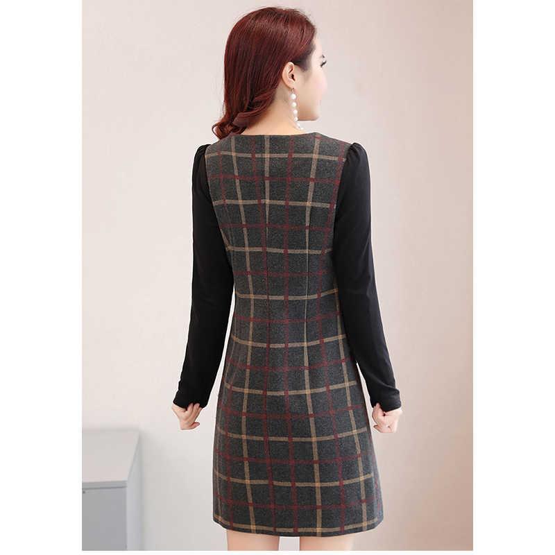 หญิงชุดผ้าขนสัตว์ 2019 ฤดูหนาวแฟชั่นลายสก๊อต Plus กำมะหยี่อบอุ่น Slim Plus ขนาด 4XL เซ็กซี่กระเป๋าสะโพกผู้หญิงชุด Elegant vestidos 69