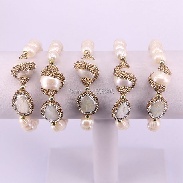 5pcs Nature Fresh Water Pearl Stretch Bracelet With Gold Yellow Crystal Rhinestone Beads Charm Bracelets