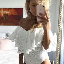 Sxhikefoot 2018 new hot women Shoulder lace one piece Rompers