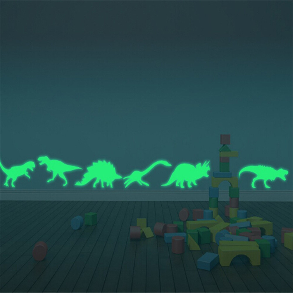 9Pcs Dinosaur Jurassic World Figures Indominus Rex Luminous Stickers Toy Glow In The Dark Jurassic Park Dinosaur Luminous Toys