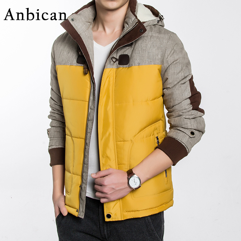 ФОТО Winter Casual Men's Parka Jacket Thick and Warm Hooded Parka Coats Men Patchwork Yellow Coat Plus Size M-5XL