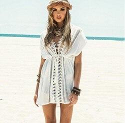 Новинка 2017 года пляж прикрыть белый Кружево Купальник Cover Up летний крючком пляжная одежда купальный костюм крышку ИБП пляжное платье