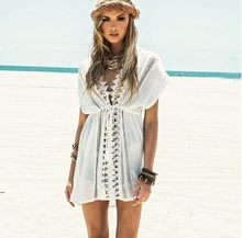 2017 New Beach Cover Up White Lace Swimsuit cover up Summer Crochet Beachwear Bathing suit cover ups Beach Dress(China)