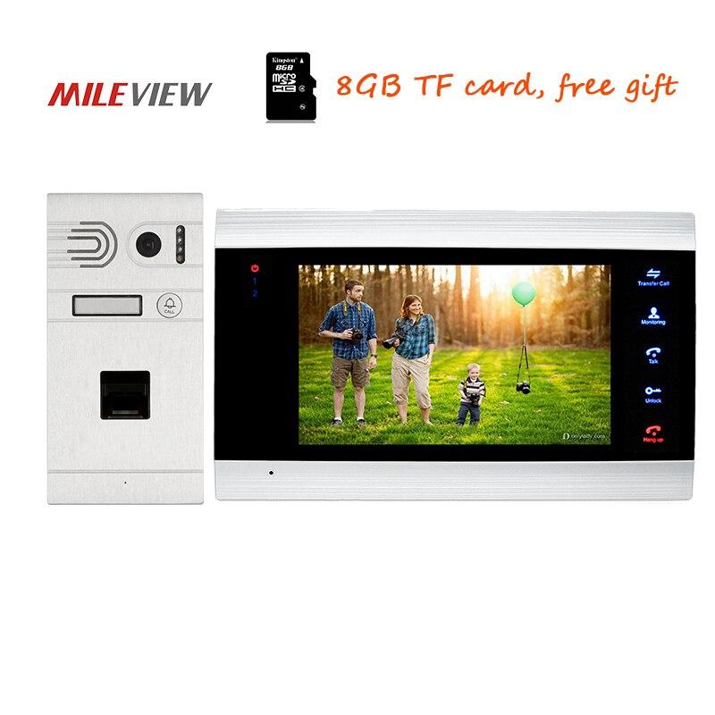 Free Shipping NEW 720P AHD HD 7 Screen Video Door Phone Intercom Record System + Fingerprint Recognition Unlock Outdoor Camera
