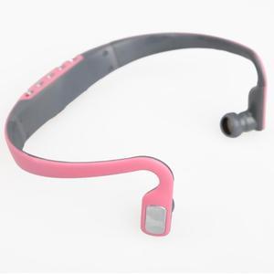Image 4 - سماعات أذن رياضية مزودة بخطاف سماعات لاسلكية ومشغل MP3 سماعة رأس قابلة لإعادة الشحن تدعم بطاقة TF/راديو FM أزرق/وردي