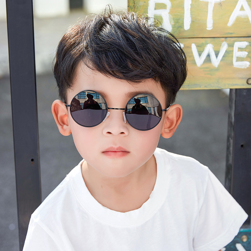 GUANGDU Fashion Retro Children's Okulary Sunglasses Kids Driving Cute Round Gafas Children UV400 Glasses Girl Boy Oculos De Sol