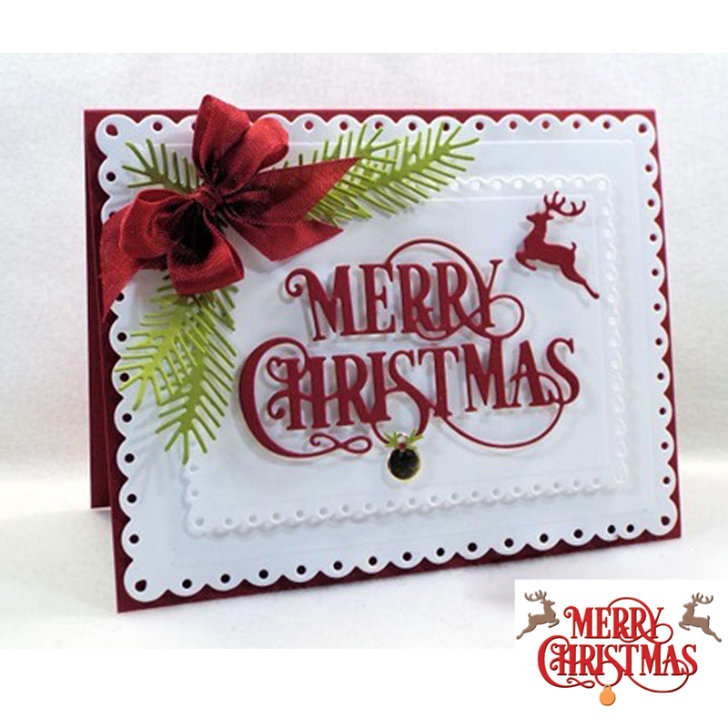 Merry Christmas Phrases Cutting Die Scrapbooking Card Album Photo Making DIY Template Handmade Decoration Embossing Stencil in Cutting Dies from Home Garden