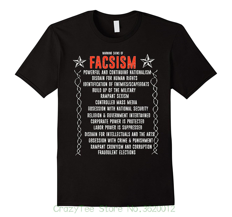 Круглый вырез горловины футболки с коротким рукавом Предупреждение знаки фашизма против Трампа протеста противостоять