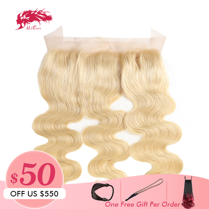 Ali Queen Hair Products Brazilian Remy Hair 13 4 Free Part 613 Blonde Lace Frontal Closure