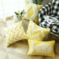 Luxury Cushion Cover Morocco Style Yellow Pillow Case with Piping Zigzag Fish For Sofa Couch Home Decor Linen 45*45cm 30*50cm
