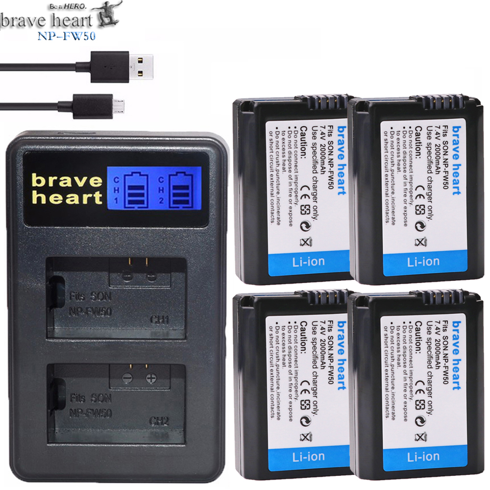 Dual-Charger NEX-5 Fw50-Battery A6500 Sony Alpha NP-FW50 2000mah LED For A6500/A6300/A7/..