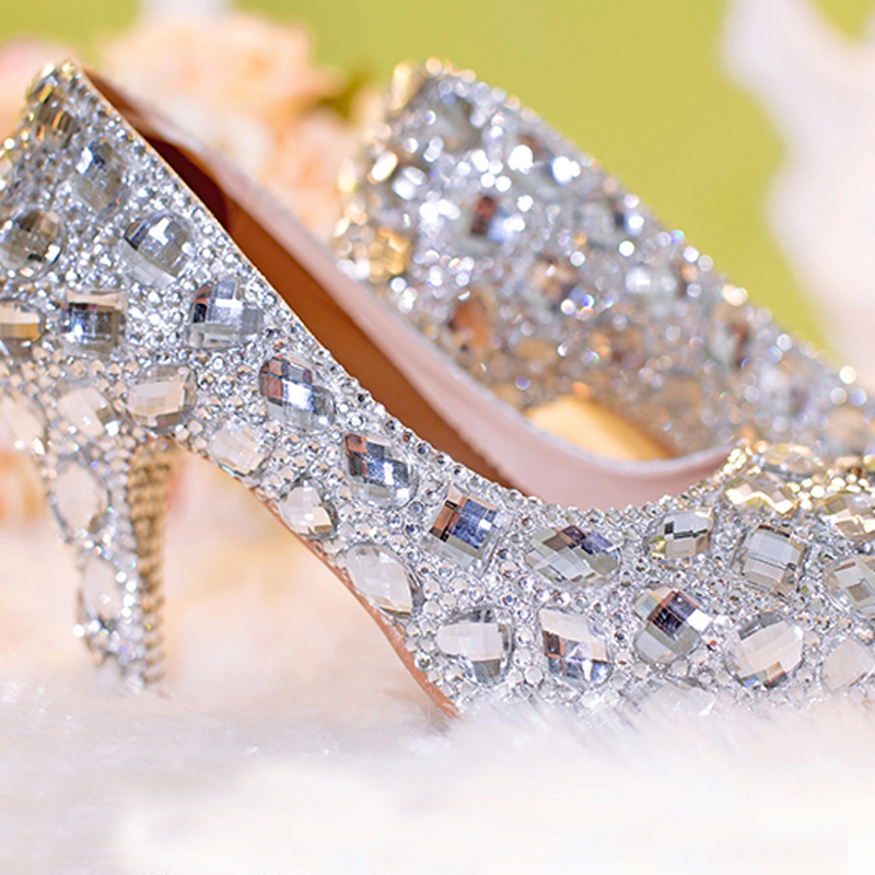 f6026c3051a US $106.82 8% OFF|Popular Silver Closed Toe Bridal Shoes Wedding Shoes  Clear Rhinestone Platform Crystal Pumps European Party Prom Heels-in  Women's ...