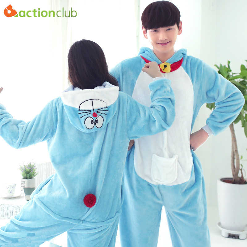 ACTIONCLUB Cartoon Blue Cat Kigurumi Sleepwear Women s Soft Jumpsuit Pyjamas  Cute Anime Pijama Nighties Men Onesie 7dc5728b7