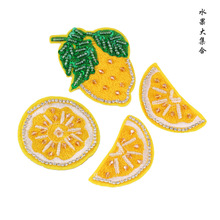 4pcs/set orange handmade sequins beaded patches for clothing DIY rhinestone Sew on patch Embroidery applique parche ropa