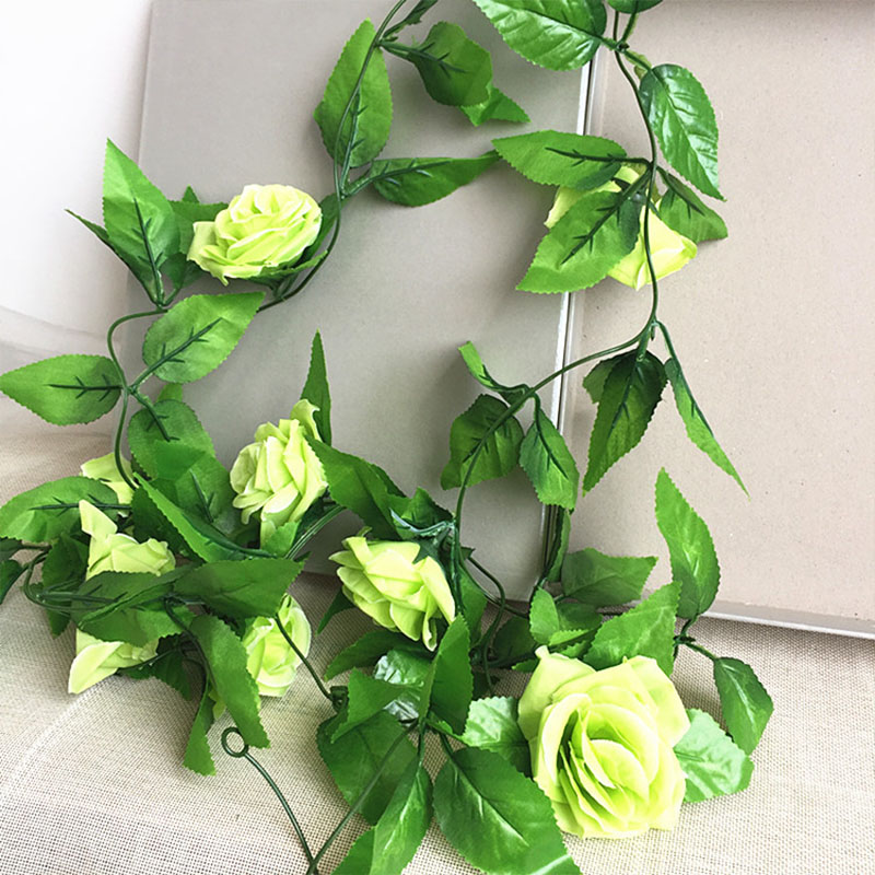 250CM/lot Silk Roses Artificial Flowers With Green Leaves For Home Wedding Decoration 16