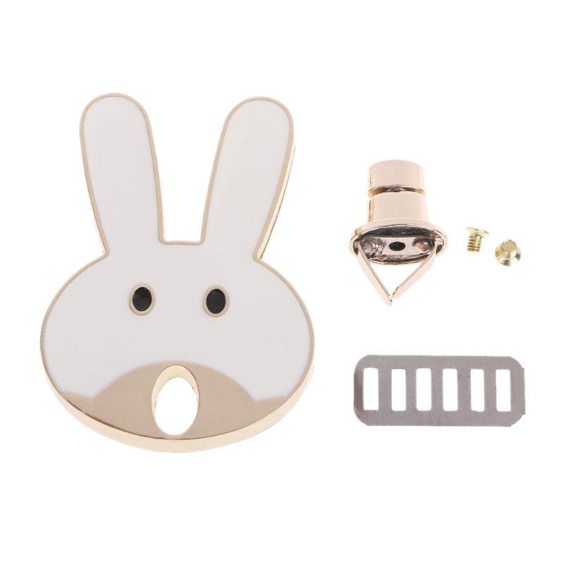 THINKTHENDO THINKTHENDO Rabbit Shape Clasp Turn Lock Twist Locks Metal Hardware For DIY Handbag Bag Purse Cute Bag Accessories