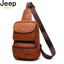 """JEEP BULUO Famous Brand Mens Sling Bag For 9.7"""" iPad Shoulder Men Leather Chest Pack Crossbody Bag for Man Big Zize High Quality"""
