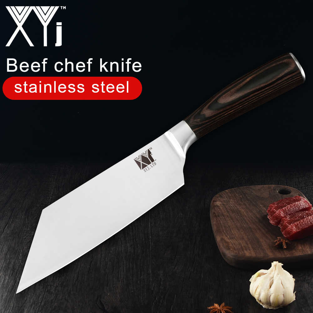 XYj Kitchen Knife 4cr13 Stainless Steel Chef Knife Japanese Beef Meat Veg Cooking Tool Handmade Beef Chef Knife Tool Accessories