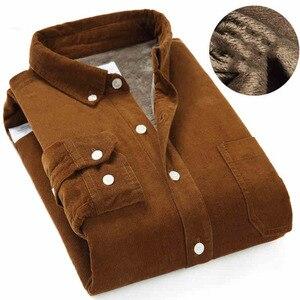 Image 2 - Высококачественная зимняя теплая рубашка 2020, Мужская Вельветовая рубашка, теплая рубашка с флисовой подкладкой
