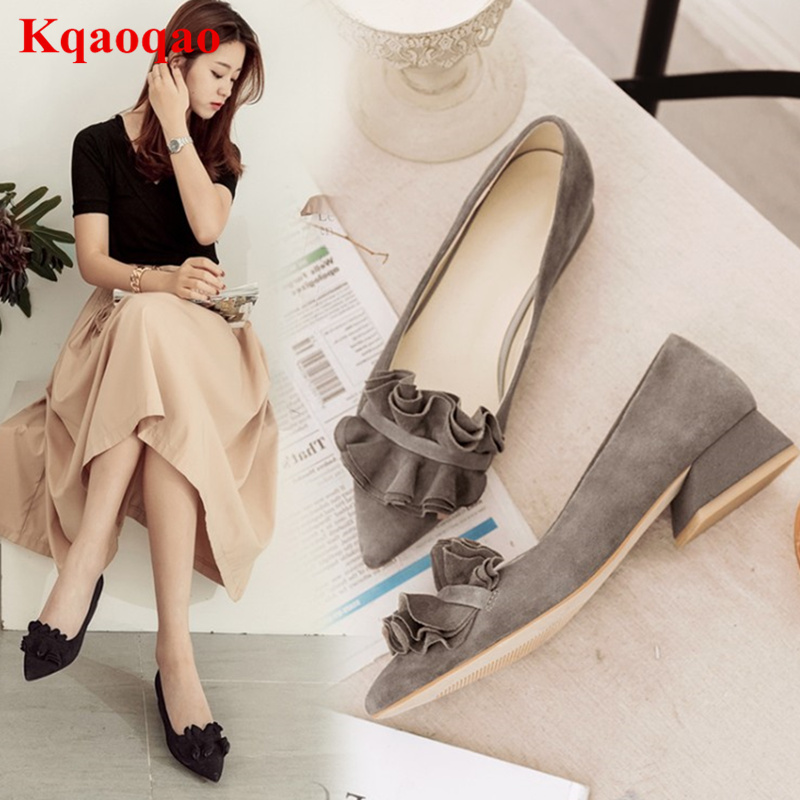 Kid Suede Low Heel Shallow Women Pumps Dress Party Office Girl Shoes Pointed Toe Low Top Pleated Ruffles Chic Lady Zapatos Mujer 2017 new fashion brand spring shoes large size crystal pointed toe kid suede thick heel women pumps party sweet office lady shoe