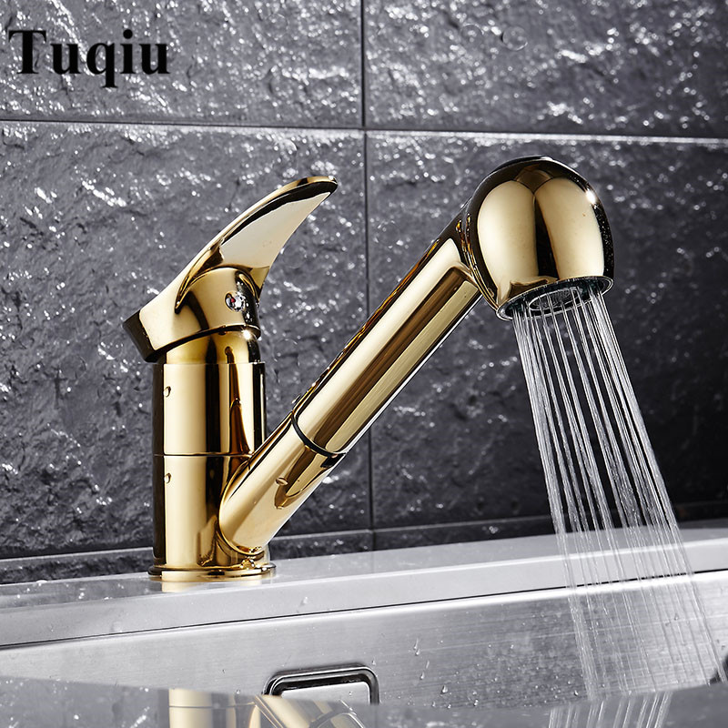 где купить Kitchen Faucets Gold Single Handle Pull Out Kitchen Tap Single Hole Handle Swivel 360 Degree Water Mixer Tap Mixer Tap по лучшей цене