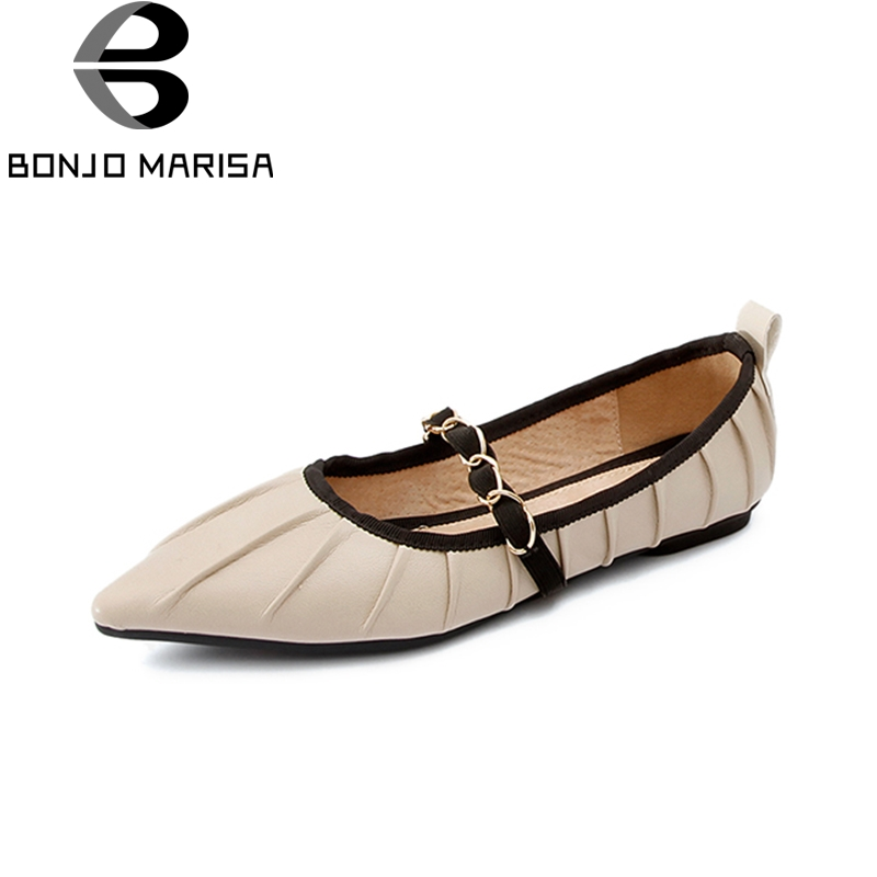 BONJOMARISA 2018 Top Quality Genuine Leather Spring Summer Shoes Women Flats Comfortable Date Party Cow Leather Woman Shoes ribetrini 2018 top quality slik upper crystals slip on spring summer shoes women flats comfortable date easy for walking