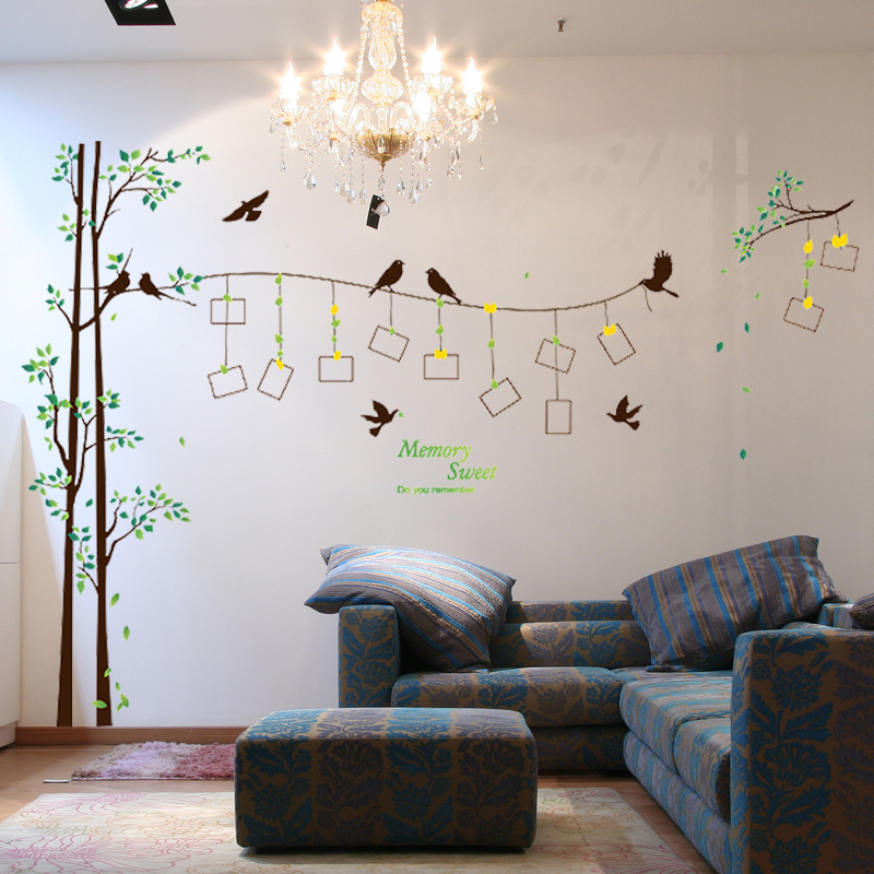 Sk2007w large size family photo frame tree wall sticker for W home decor