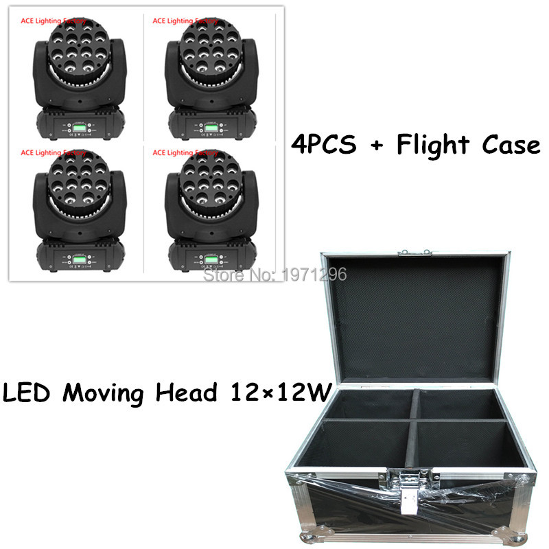 4pcs/lot With Flight Case LED Beam Moving Head Light 12x12W RGBW 11/15 Channels With 8 pieces DMX Cables Fast Shipping