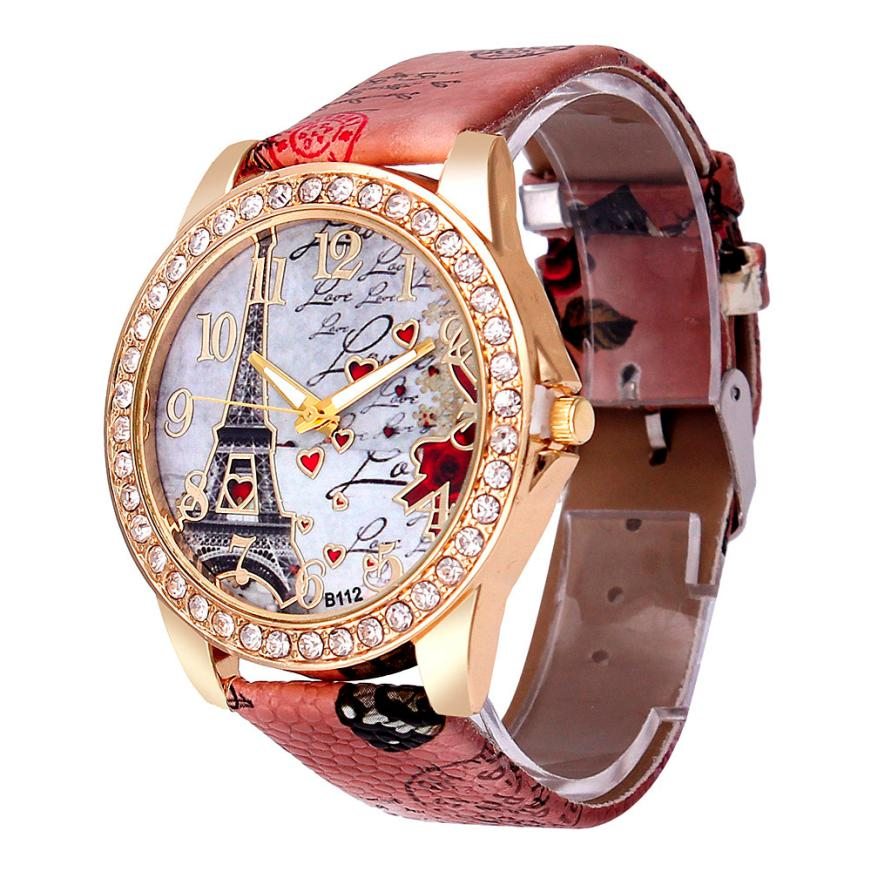 Best deal quartz watch women fashion tower pattern diamond dial watches men faux leather watch for Diamond dial watch
