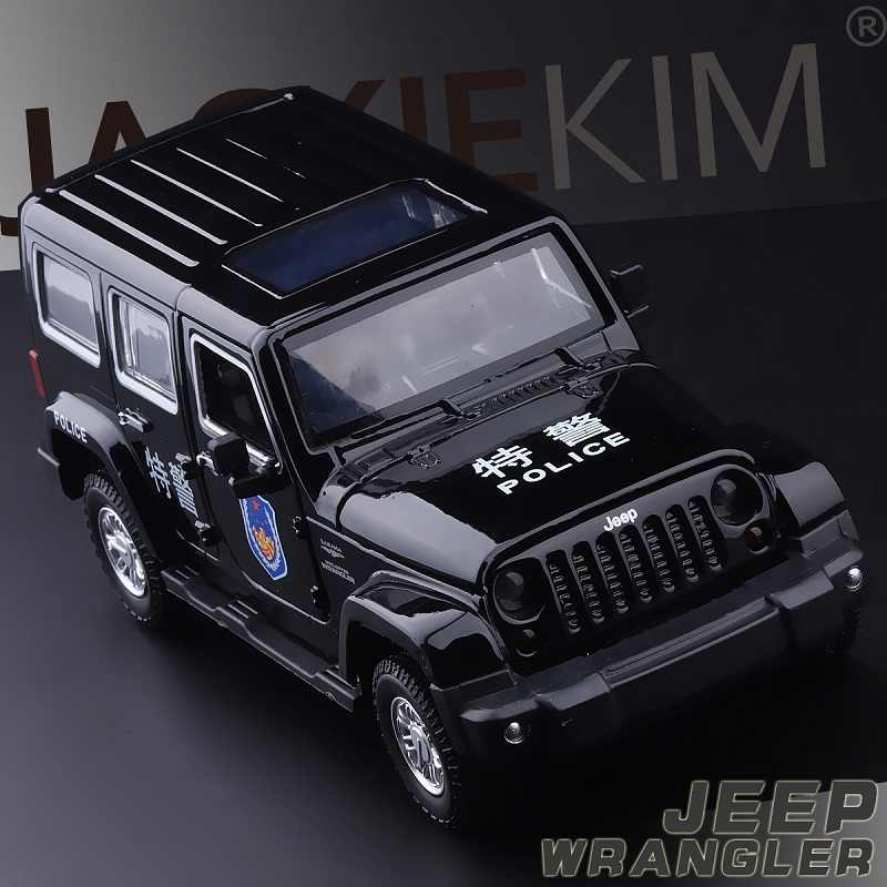 Hoge Simulatie Exquisite 1/32 Jeep Wrangler SUV Politie Legering Model Auto Pull Back Flashing Musical Baby Beste Gifts Speelgoed