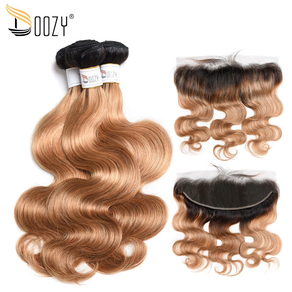Doozy Brazilian Hair Body Wave Ombre Color 1b/27 Honey Blonde Remy Human Hair 3 Bundles With Lace Frontal Closure