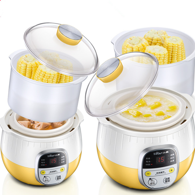 220V Bear Electric Stewing Pot Multifunctional Electric Stewing Pot Household Baby Food Cubilose Cooking Machine EU/AU/UK Plug 220v household electric slow stewing pot machine baby porridge food maker automatic ceramic inner stewing cooker eu au uk