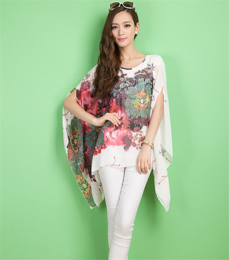 Sexy Women Summer Style Elegant Chiffon Shirt Casual Loose  Batwing Sleeve  Floral Print Chiffon shirt Blouse Tops