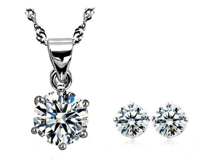 Wholesale (3 setslot) Jewelry Sets 6 Angle Crystal Necklace + Earrings Sets Free Shipping