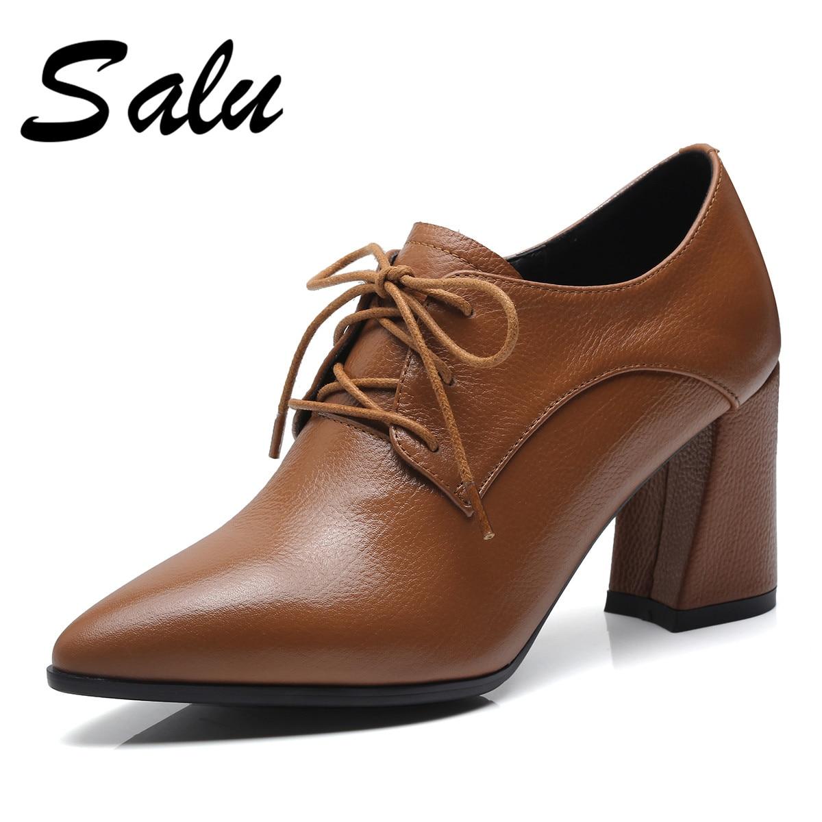 De Negro Bombas Elegante Cuero Puntiagudo Sales Fletiter Zapatos marrón Damas Del Mujer Genuino Tacón Dedo Alto Pie 5Y7ZX7x