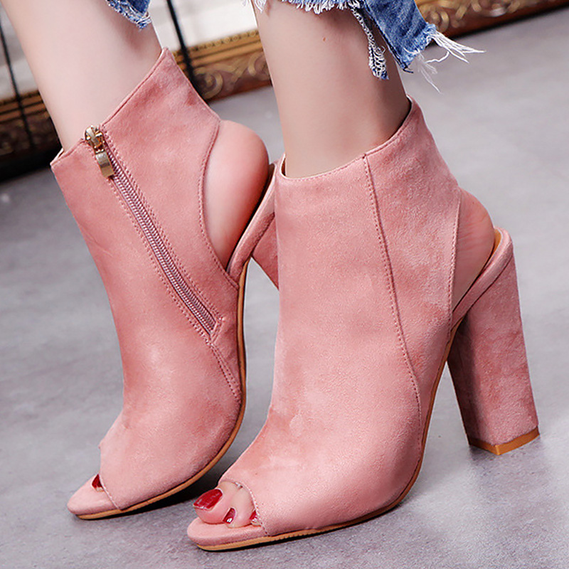 Zip fish mouth women's summer shoes large size 34-43 sandals solid concise platform sandals 2018 trendy square heel 2