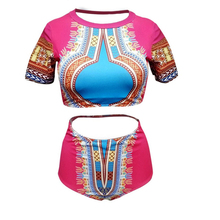 a6006ea435883 Dashiki Push Up High Waist Swimwear Women Plus Size Bikini Set African Two  Piece Swimsuit Sexy