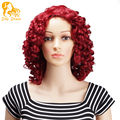 Curly Red Wig Afro Kinky Curly Synthetic Wigs Short Heat Resistant Synthetic Wigs For Black Women Natural Burgundy Wigs Cheap