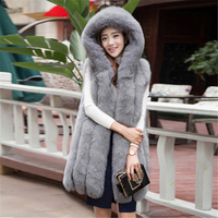 FANIECES New Design Warm Faux Fur Vest Coat Women Vest Winter Thick Hooded Pink Long Outerwear Elegant Ladies Jackets Streetwear