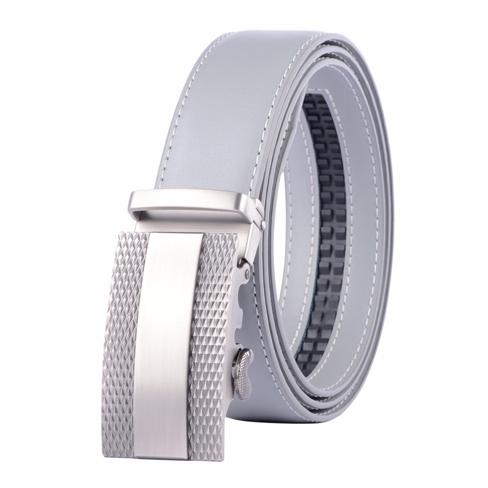 New Designer Popular Luxury Brand Cowhide Leather   Belt   Men Gray Automatic Buckle Business Casual   Belts   For Men 3.5 Width